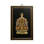 China Furniture and Arts - Shou Shan Stone Empress - Featuring a portrait of the 18th-century Qing Dynasty Empress, this wall plaque is completely inlaid with colorful Shou Shan stones on a hand painted black matte background. Ornate brass hangers are included. Made by artists in China.