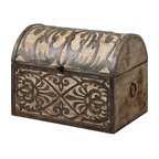 Uttermost - Abelardo Rustic Wooden Box - Lightly Stained Rustic Wood With Ornate Wrought Iron Metal Details. Hinged Lid Provides Easy Access For Storage.