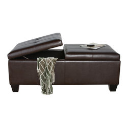 Great Deal Furniture - Alpine Leather Storage Ottoman Coffee Table - The Alpine Leather Storage Ottoman unique design offers quality, style, and appearance with incredible storage.