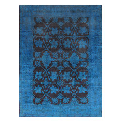 Pasargad - Over-Dyed Handmade 10X14 Brown And Blue Rug - This rug has a bold, contemporary look that will add stylish flair to any decor. Each overdyed rug is  dyed again in vibrant hues, to create a unique and one of a kind piece that adds a visual modern statement. The rug is handcrafted Turkish Oushak design with a combination of colors combining to form a unique color and texture.
