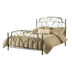 Hillsdale Furniture - Hillsdale Cartwright Metal Bed in Magnesium Pewter - King - Dynamic and sophisticated in design, the Cartwright bed is a crowd-Pleaser with its pewter finish and organic curvilinear decoration. Ideal for elevating simple bedroom decor, the Cartwright is available in full, queen and king sizes. Some assembly required.