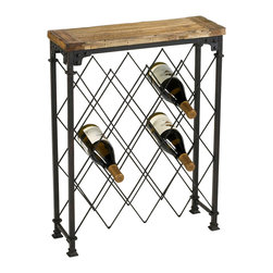 Kathy Kuo Home - Hudson Rustic Iron Reclaimed Wood Wine Rack - Some things just get better with time - like this rustic wine rack.  Crafted from reclaimed, natural finish wood and oxidized iron, the slim lines and old world details make it an excellent addition to rustic cabins, industrial lofts and French county-influenced homes.