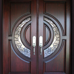 "BGW - BGW 580E Mahogany Wood Door Unit - This door unit comes in Mahogany wood. It is 61 1/2"" wide (two 30"" doors) or 73 1/2"" wide (two 36"" doors) by 81"" tall and has a 5 1/4"" jamb. The door is pre-finished, pre-hung, comes with interior casing and exterior brick molding. The glass is triple glazed with black caming. All you need to buy is Entry Door hardware to complete your installation. The door is available with a right hand or left hand interior swing. Entry hardware not included."