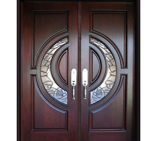 """BGW - BGW 580E Mahogany Wood Door Unit - This door unit comes in Mahogany wood. It is 61 1/2"""" wide (two 30"""" doors) or 73 1/2"""" wide (two 36"""" doors) by 81"""" tall and has a 5 1/4"""" jamb. The door is pre-finished, pre-hung, comes with interior casing and exterior brick molding. The glass is triple glazed with black caming. All you need to buy is Entry Door hardware to complete your installation. The door is available with a right hand or left hand interior swing. Entry hardware not included."""