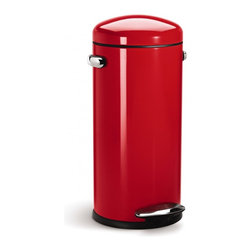 simplehuman - 30 Litre Retro Step Can, Red Steel - Shaped like a bullet — and as tough as one, too — this steel trash can features a domed lid and an extra-wide pedal for easy operation. Special patented technology ensures a smooth, silent closing every time.