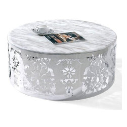 Modern chrome and white round coffee table Lorenzo - Modern coffee table Lorenzo features one of the most original and fashionable designs. This is due to the marble white round top mounted on a laser cut chromed metal base. No doubt it would be a remarkable accent in your living space.