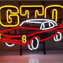 GM GTO Automobile Neon Sign - The highly detailed GM GTO Automobile Neon Sign shows off your favorite car in bright lights over your bar. Neonetics neon signs are hand-blown and brightly colored for a warm, mesmerizing glow. Mounted on a black metal grid that can be hung or sit on a shelf, each unit houses efficient, silent solid-state transformers and a built-in plug.