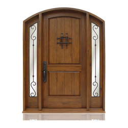 "Old World Collection | 2822 - Species: Knotty Walnut, Distress: Monterey, Iron Work: Black,  Hinges: 3.-5"" Ball Bering Hinges ORB, Exterior Door"