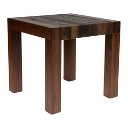 Reclamation Company - Alamance Side Table, Heart Pine, Clear Lacquer - The Alamance groups signature component is the bridal joint connecting the leg and the horizontal support beam.  Made from reclaimed wood, the combination of rough and smooth textures in the woods as well as the clean lines of the design creates a rustic yet refined look. Because this is a unique handmade piece, please allow 4 to 6 weeks lead time. Note: Please view the swatch image for an indication of the different wood and finish options.