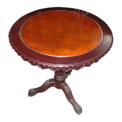 Golden Lotus - Chinese Oriental Burl Wood Round Pedestal Table - This simple round table is made of solid elm wood and burl wood. The table top and the base can be separated. The trim of the round top has traditional Chinese Ru--Yi pattern. The legs are carved with fu-dog head motif. It is a nice pedestal table in the entrance or a tea table in the guest room.