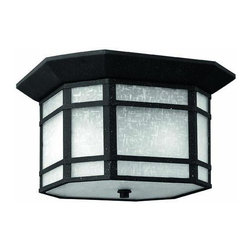 Hinkley - Hinkley Cherry Creek Two Light Vintage Black Outdoor Flush Mount - 1273VK - This Two Light Outdoor Flush Mount is part of the Cherry Creek Collection and has a Vintage Black Finish. It is Outdoor Capable, and Dry Rated.