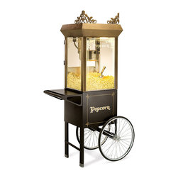 Frontgate - Old-time Popcorn Popper w/Cart - Makes delicious popcorn with a scrumptious flavor unrivaled by microwaves or hot-air poppers. Makes six quarts of popcorn every 3 minutes. Commercial-quality, stainless-steel kettle is clad with aluminum to prevent burning and clean easier. Rubber-capped feet on counter model protect fine surfaces. Plugs into any standard household outlet. Enjoy movie-theatre style popcorn in the comfort of your own home. Our commercial-caliber Countertop Popcorn Popper is easy to use and easy to clean, making it great for parties and family movie nights. . . . . . Optional kernels and accessories offered separately. 110V. Made in USA.