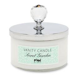 Primal Elements - Secret Garden Vanity Candle - Secret Garden has elegant notes of golden peach, sheer absinth and sensual iris.