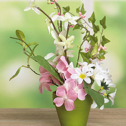 Transpac Imports - Venice Hydrangea in Pot - Let your home breathe in the fresh color and natural appeal of this alluring ornament requiring no maintenance.   10'' H Polyester / plastic / paper Imported
