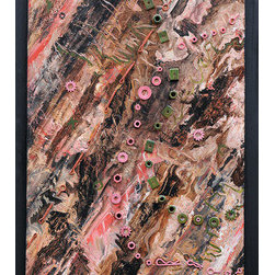 """Femininity"" (Original) By Regina Davidson - This Mixed Media Artwork Was Created By Nashville Artist, Regina Davidson.  It Is A One Of A Kind Piece Using Upcycled Hardware To Represent The Hard, Rugged, And Sometimes Cold Side Of The Female Persona.  It Is Also Depicts Contrasting, Feminine Aspects With The Use Of Corals, Pinks, And O Shaped Pieces.  This Piece Is Framed In Painted Poplar."
