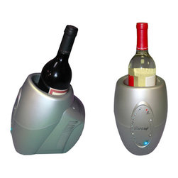 "VinoGrotto - Single Bottle Wine Chiller/Warmer - Why wait several hours to chill your wine bottle in a refrigerator? This single bottle chiller will bring it down to proper serving temperature in no time! This one bottle wine chiller/warmer is the perfect addition to a kitchen or bar and can keep your wine at an exact temperature for ultimate enjoyment. CPU controlled fast cooling or warming. 10 Temp selections with LED indicator lights. Temperature range: 37 ? 122F. Insulated sleeve helps speed the chilling and maintain temperature. Holds 1 bottle up to 3-1/2"" diameter"