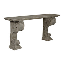 Console with a Medium Antique Painted Finish - Carved, s-curved double volutes on molded pedestals are the high-relief pilasters which graciously support the ends of the Reclaimed Lumber Console.  Formal in design, rustic in execution, handmade by skilled modern craftsmen, this traditional wall table consists of wood repurposed from former uses and treated with a beautiful wash of layered neutral tints to achieve the hidden depths and soft traceries of grain that you'll see in the elegant scroll console.