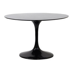 """East End Imports - 40"""" Eero Saarinen Style Tulip Dining Table in Black Fiberglass - Achieve the perfect completion of time and grace with the classic Euro Saarinen Style Tulip Table. Reflect seamlessly as organic shapes and a slender stem-like pedestal glide you to the perfect vantage point. Elevate your surroundings beyond the sharp four-cornered traditional table as you blend divergent perspectives into one centrifugal force par excellence."""