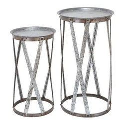 "Benzara - Conventional Decor Metal Pedestal - Set of 2 - Conventional Decor Metal Pedestal - Set of 2. This Modern and Conventional decor metal Pedestal (Set of 2) is the perfect home accessory. It comes with following dimensions 17"" W x 17"" D x 32"" H. 14"" W x 14"" D x 26"" H."