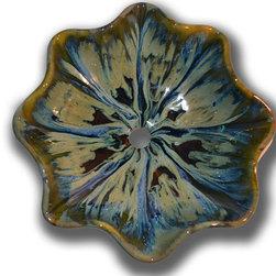 MAUI CERAMICS - Ocean Contemporary Vessel- Medium - Porcelain Ceramic Over Counter Vessel Sink