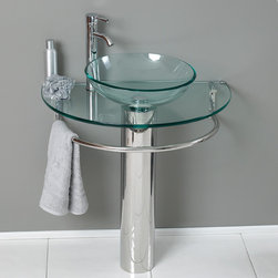 "Fresca - Fresca Attrazione 29"" Modern Glass Bathroom Vanity w/ Frosted Edge Mirror - This simply constructed jewel tone chrome stand and gently sloping tall clear glass basin are ideal for simple living with a touch of class and modern charm. Versatile for any decor. Quietly interesting and chic without being disruptive."