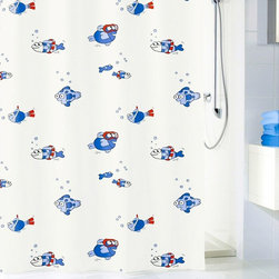 PVC Free Kids Shower Curtain - Freddy - This school must've been schooled on swimming safety. A sea of white, dark and light blue fish are having a grand time, dressed up in their red goggles, life preservers and other swimming gear. The curtain is made PVC-free material — and doesn't need a liner.