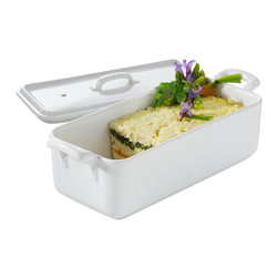 Revol - Revol Porcelain Belle Cuisine 35.75 oz. Rectangular Terrine with Lid - Revol Porcelain Belle Cuisine 21.25 oz. Rectangular Terrine with Lid Belle Cuisine provides a classic shape that never goes out of style! Its lines are inspired by the purest French culinary tradition, with an added twist of originality. Dishes and handles are made in a single piece - a first in culinary porcelain! Ideal for safe handling around the stove. Ovenproof to 300 degrees Celsius (572 degrees Fahrenheit), dishwasher safe, freezer proof to -20 degrees Celsius (-4 degrees Fahrenheit), and safe for microwave use.