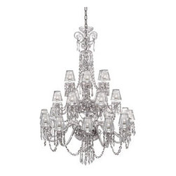 "Waterford Crystal - Waterford Crystal Ardmore Twenty Four Arm Chandelier with Crystal Shades 159473 - Waterford Ardmore 24 Arm Chandelier With Crystal Shades  -  A magnificent ceiling fixture, the Ardmore Twelve Arm Chandelier incorporates twelve gleaming candelabras each cradling a half-globe of fine crystal intricately detailed with cuts from the Ardmore pattern. Accented by drapes of cut crystal droplets, this radiant fixture brings a stunning diffusion of light and color to any room in the home.  -  Don't Buy From An Unauthorized Dealer  -  Genuine Waterford Crystal  -  Size: 69"" H x 47"" W  -  Fully Authorized U.S.Waterford Crystal Dealer  -  Brand New In The Original Waterford Crystal Box  -  Each Piece Is Checked 4 Times To Ensure It Arrives In Perfect Condition  -  Stamped With The Waterford Seahorse Symbol Of Excellence  -  Waterford Crystal Chandeliers Collection  -  Waterford Crystal UPC Number: 024258508026"