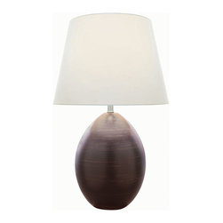 Lite Source - Ceramic Table Lamp, Dark Brown/White Fabric, E27 A 100W - Ceramic Table Lamp, Dark Brown/White Fabric, E27 A 100W