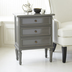 Ballard Designs - Lacquer Louis 3 Drawer Side Table - Our Louis XVI Side Table embodies classic Louis styling with richly molded drawer fronts and turned legs. Perfectly scaled to tuck between chairs or beside the bed, its three drawers offer generous storage and open with antique bronze pulls.Louis XVI Side Table features:Multi-layered, hand applied finish. Crafted in Italy. Hardwood & fine veneers.