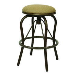 None - Bushnell 30-inch Backless Outdoor Bar Stool - The Bushnell outdoor backless swivel barstool has an aluminum frames with cast aluminum back. This cool bar stool is upholstered in Sunbrella fabric.