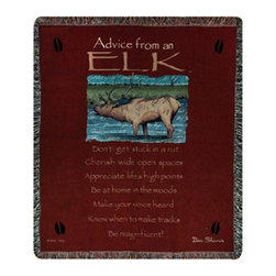 Manual - Advice From an Elk Tapestry Throw Blanket 50 Inch x 60 Inch - This multicolored woven tapestry throw blanket is a wonderful addition to your home or cabin. Made of cotton, the blanket measures 50 inches wide, 60 inches long, and has approximately 1 1/2 inches of fringe around the border. The blanket features a print of an elk standing in a stream, and the legend 'Advice From An Elk; Don't get stuck in a rut. Cherish wide open spaces. Appreciate life's high points. Be at home in the woods. Make your voice heard. Know when to make tracks. Be Magnificent' Care instructions are to machine wash in cold water on a delicate cycle, tumble dry on low heat, wash with dark colors separately, and do not bleach. This comfy blanket makes a great housewarming gift that is sure to be loved.