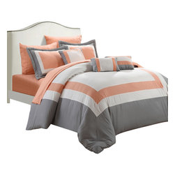 Chic Home - Duke Peach White and Grey King 10 Piece Comforter Bed in a Bag Set - All your needs to add simple elegance to any bedroom decor are find in this 10-piece comforter set. A beautiful pieced color block design comforter with decorative pillows and a complete sheet set all in one set!!! All made from beautiful peach skin microfiber fabric that will make those overpriced $1000 bedding sets feel so jealous.