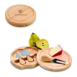 """Picnic Time - Baltimore Ravens Brie Cheese Board Set in Natural Wood - The Brie cheese board set is the perfect sized accessory for a small party or get-together. The board is a 7.5"""" swivel-style, split level circular cutting board made or eco-friendly rubberwood that swings open to reveal the cheese tools housed under the board. The three stainless steel cheese tools have rubberwood handles. Tools included are a hard cheese knife, a chisel knife (hard crumbly cheese), and a cheese fork. A carved moat surrounds the perimeter of the board which helps to prevent brine or juice run-off. The Brie makes a delightful gift.; Decoration: Engraved; Includes: 3 Stainless steel cheese utensils (1 hard cheese knife, a chisel knife (hard crumbly cheese), and cheese fork) with wooden handles"""