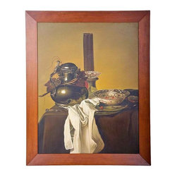 Still Life Painting - Vintage still life oil painting in manner of an Old Master, illegibly signed.