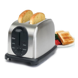 Maxi-Matic - Maxi-Matic ECT-200X Elite Platinum 2 Slice Toaster Multicolor - ECT-200X - Shop for Toasters from Hayneedle.com! Perfect breakfast will be yours to enjoy every morning when you choose the Maxi-Matic ECT-200X Elite Platinum 2 Slice Toaster. Not only does this toaster feature two extra-wide slots for bagels and English muffins it also offers multiple functions of defrosting and reheating. The removable crumb tray makes clean up a breeze while six variable browning controls and self-centering guides ensure even toasting to ensure your slice is just the way you want it every time. Boasting a beautiful brushed stainless steel finish this toaster makes a stylish addition to any kitchen counter.About Maxi-MaticMaxi-Matic U.S.A has been an established provider of small kitchen appliances and other various household items for more than 25 years. From exclusively marketing the Pillsbury line to developing its own range of brands Maxi-Matic features products that are carried by all major U.S. retailers today. Committed to offering the best quality and pricing in today's market Maxi-Matic strives to provide the best consumer products under world-class brands such as Elite (Cuisine) by Maxi-Matic Elite (Gourmet) by Maxi-Matic Elite (Platinum) by Maxi-Matic Elite Home by Maxi-Matic Maxi-Sonic and Mr. Freeze.