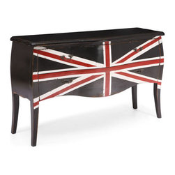 Zuo Modern - Zuo Union Jack Large Cabinet in Distressed Black - Union Jack Large Cabinet in Distressed Black by Zuo Modern Add flair to any space with the Union Jack small cabinet. Made from solid elm and two small drawers for storage. The handles are antiqued metal. Large Cabinet (1)