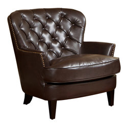 Great Deal Furniture - Alfred Brown Leather Arm Chair - The Alfred Brown Leather Arm Chair offers executive styling at an intern price. Perfect for any room that exhibits an affluent or upscale decor. Aside from the darkly tanned wooden legs, this chair is upholstered entirely with rich brown bonded leather. The seat cushion is thick and soft, and the tufted back offers a soft and comfortable place to relax.