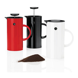 Stelton - Erik Magnussen Coffee Press - Stelton - Erik Magnussen's classic vacuum jug is now available in an updated version with a new function. Designed for Stelton in 1977, the prize-winning jug now comes as a press coffee maker in four different finishes – stainless steel, black, red or white plastic.
