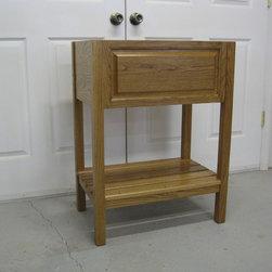 Bath Vanity - Solid white oak open style vanity with slat shelf. American oak stain
