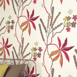 Romo - Romo Avery Cerise Wallpaper (Sample) - Wallpaper CalculatorThis Romo, modern, botanically  inspired wallpaper uses colorful plant and animal life to create a fresh look.