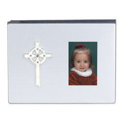 Lawrence Frames - 4x6 Satin Silver Metal Album - Ivory and Crystal Cross - Beautiful satin silver metal photo album with cross appliqu��_.  Album cover has an opening for a featured 2x3 photo.  Gorgeous silver and ivory cross adorned with crystals.  Makes a great gift for a Christening or communion, or for your special day!  Photo album comes with 18 double sided 4x6 pages, holds 36 photos.  High quality gray velvet binding and backing.
