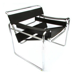 Consigned Marcel Breuer B3 Wassily Club Chair in Dark Brown Leather - Classic vintage Wassily Strap chair or B3, designed by Marcel Breuer circa 1925 in Germany. This modern take on a club chair has chocolate brown leather with a great patina and age marks. The chrome is in good condition with minor discoloration and will arrive freshly hand polished. All of the straps are tight and without any sagging. There are no maker's labels but it was likely produced by Knoll or a fine Italian maker in the 1970s.