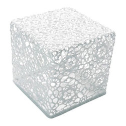 Moooi - Crochet Table 3030 by Moooi - Leave those doilies in their drawer. The Moooi Crochet Table 3030 is made entirely out of genuine handmade cotton lace. Draining in epoxy resin allows the otherwise delicate and flexible material to maintain its strength and cubic shape. Also available in a rectangular version: Crochet Table 3060. Designed by Marcel Wanders.Moooi creates modern pendant lighting, lamps, and a unique array of suspension lighting. Founded by Marcel Wanders and first presented in 2001, Moooi creates products that satisfy the customers' desire for individual style, and features designers such as Ross Lovegrove and Erwin Olaf.The Moooi Crochet Table 3030 is available with the following:Details:Made of White handmade crochet cottonDrained in epoxy resinDesigned by Marcel Wanders, 2001Shipping:This item usually ships within 15 days.