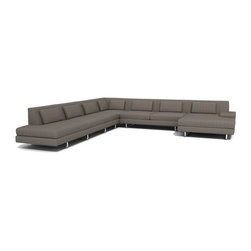 "TrueModern - Hamlin Corner Sectional Sofa with Chaise in Calvin Dolphin - Oversized piece features a medium density cushion which allows you to sit down into this comfortable and modern shape. The stitching on the entire sofa is done with a classic baseball stitch, the same stitch creates a cross pattern for both the back pillows and back rest. The legs are made of brushed nickel, steel tube. *Sofa Depth: 37"" *Chaise Depth: 62"" *Seat Height: 16"""