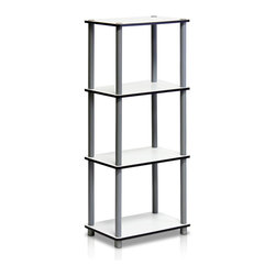 Furinno - Furinno 14074WH-GY/WH JUST No Tools Shelf - Furinno JUST No Tools Series storage shelves: 4-Tier Dual-Sided Dual Color Multipurpose Shelf unit. (1) Unique Structure: Open display rack, shelves provide easy storage and display for decorative and home living accessories. Suitable for rooms needing vertical storage area. Designed to meet the demand of low cost but durable and efficient furniture. It is proven to be the most popular RTA furniture due to its functionality, price, and the no hassle assembly. (2) Smart Design: Easy Assembly and No tools required. A smart design that uses durable recycled PVC tubes and engineered particleboard that withstand heavy weight. Just repeat the twist, turn and stack mechanism, and the whole unit can be assembled within 10 minutes. Experience the fun of D-I-Y even with your kids . (3) The  Particleboard is manufactured in Malaysia and comply with the green rules of production. There is no foul smell, durable and the material is the most stable amongst the particleboards. The PVC tube is made from recycled plastic and is tested for its durability. A simple attitude towards lifestyle is reflected directly on the design of Furinno Furniture, creating a trend of simply nature. All the products are produced and assembled 100-percent in Malaysia with 95% - 100% recycled materials.
