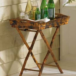 Butler Tray Side Table by Kenian - This bamboo butler tray, from Kenian Imports, was a versatile market find. The tray is removable for easy serving, and flipping the base on its side transforms the piece into a coffee table!