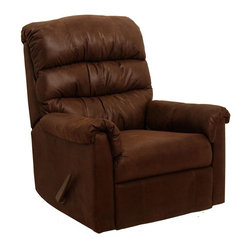 Catnapper - Capri Rocker Recliner w Dramatic Stitching Ef - Color: ChocolateDramatic stitching effect. Triple pad back. Handle rocker recliner. Unitized steel base. 100% Steel seat box. No warping or splitting in this critical area (standard on most models). Reclining Mechanism:. Installed with noiseless sure-lock spring clips. Strongest recliner seat box available. Direct drive cross bar ensures that both sides of the mechanism operate together, in sequence, for longer life. Heavy 8-gauge sinuous steel springs in the seat provide strength, comfort and flexibility. Made of 100% polyester. Cleaning Method:. Clean only with water-based shampoo or foam upholstery cleaner. Do not over wet. Do not use solvent. Do not saturate with liquid. Pile fabrics may require brushing to restore appearance. Cushion covers should not be removed and laundered . Pictured in Chocolate. No assembly required. Limited lifetime warranty. 34 in. L x 38 in. W x 41 in. H (104 lbs.)