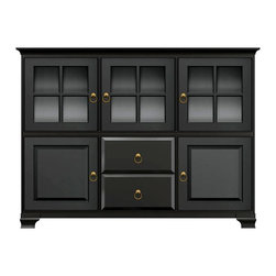 Howard Miller Custom - Molly Cabinet w 3 Doors in Antique Black - This cabinet is finished in Antique Black on select Hardwoods and Veneers, with Antique Brass hardware. 2 beveled panel doors. 3 doors with plain Glass and cross panes. 2 raised panel drawers. 5 adjustable interior shelves. Cove profile top and Ogee profile base. Hardware: ring pulls on doors and drawers. Features soft-close doors, metal drawer glides, and metal shelf clips. Simple assembly required. 73 1/2 in. W x 17 in. D x 54 3/4 in. H