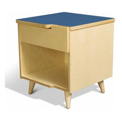 True Modern - 11 Ply 1 Drawer Nightstand - TrueModern's 11 Ply nightstand is constructed from sustainable birch plywood and features the signature cutouts and interlocking drawer face. It has a classic modern design with solid birch Danish-style legs and a laminate top. Exposed plywood edges make this collection one for the true modernist at heart. There is also a cutout handle on the top edge of the drawer face that fits perfectly in the top of the dresser. Laminate tops are available in crisp white, postal blue, atomic orange and dark gray. Features: -Sustainable birch plywood and laminate top construction. -Exposed plywood edges. -Cutout handle on the top edge of the drawer face that fits perfectly in the top of the dresser. -Made in the USA.